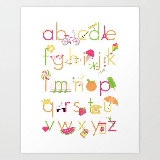 Alphabet for Girls Art Print