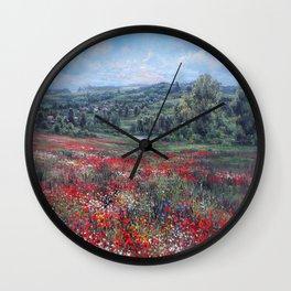 Poppy blossom Wall Clock