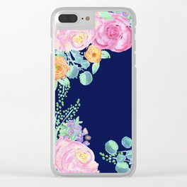light pink peonies with navy background Clear iPhone Case
