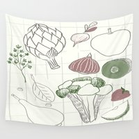 vegetables Wall Tapestries featuring Green Fruits&Vegetables by Inga Provorova