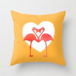 lovebirds - flamingos in love Throw Pillow