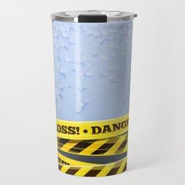 Grunge Background With Danger Tapes Travel Mug