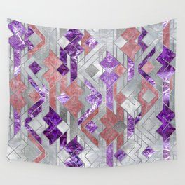 Geometric Amethyst, Rose quartz and Mother of pearl Wall Tapestry