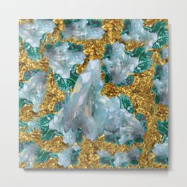 WHITE QUARTZ  CRYSTALS & BLUE-GREEN AQUAMARINE Metal Print