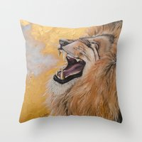 fierce Throw Pillows featuring Fierce by NicoleFaye