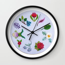 embroidery flowers round Wall Clock