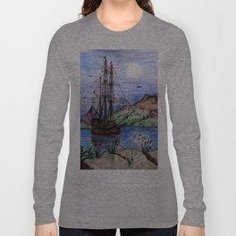 Tall Ship in the Moonlight Long Sleeve T-shirt