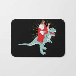 Jesus Riding A Dinosaurs Rex Gift Bath Mat