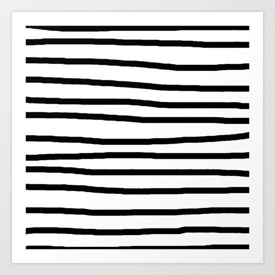Simply Drawn Stripes in Midnight Black Art Print