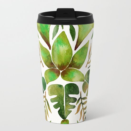 Tropical Symmetry – Olive Green Metal Travel Mug