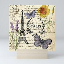 french botanical print purple butterfly lavender floral paris eiffel tower Mini Art Print