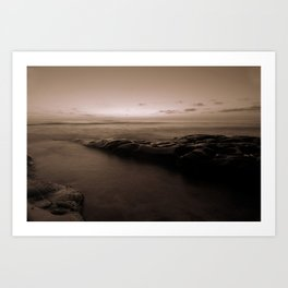 Pacific Sunset in B&W Art Print