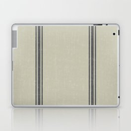 Grey Stripes on Linen color background French Grainsack Distressed Country Farmhouse Laptop & iPad Skin