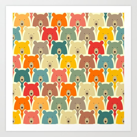 Bears cartoon pattern Art Print