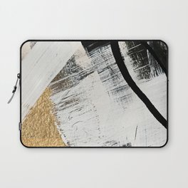 Armor [9]: a minimal abstract piece in black white and gold by Alyssa Hamilton Art Laptop Sleeve