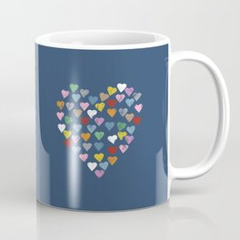 Distressed Hearts Heart Navy Coffee Mug