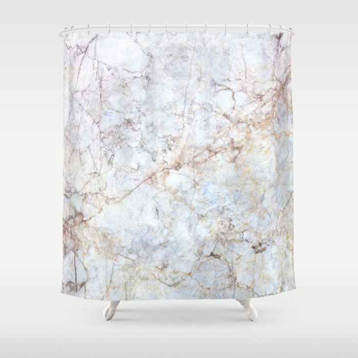 Rich Gold And Blue Marble Shower Curtain