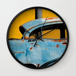 Rusty Blue Car and Yellow Wall Wall Clock