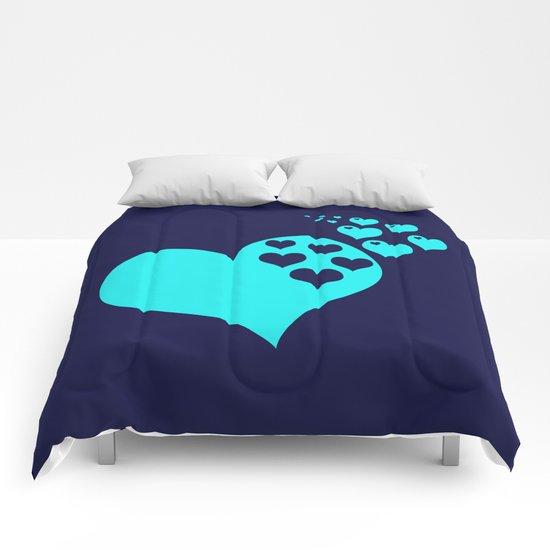 Love Navy Turquoise Comforters