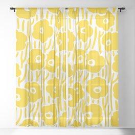 Mid Century Modern Wild Flowers Yellow Sheer Curtain