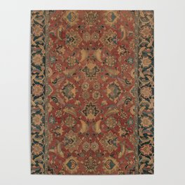 Flowery Boho Rug I // 17th Century Distressed Colorful Red Navy Blue Burlap Tan Ornate Accent Patter Poster