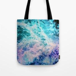 Magical Ocean Waves in Teal Ultra Violet Stars Tote Bag