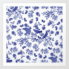 Pattern with blue watercolor birds Art Print