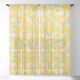 Blush Bloom Peony Lemon Sheer Curtain