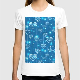 Bright openwork hearts on a light blue background. T-shirt