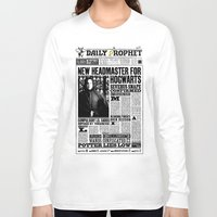 """snape Long Sleeve T-shirts featuring Daily Prophet """"NEW Head Master, Severus Snape"""" by Win Graphics"""