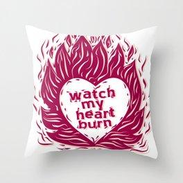 Fire Heart Throw Pillow
