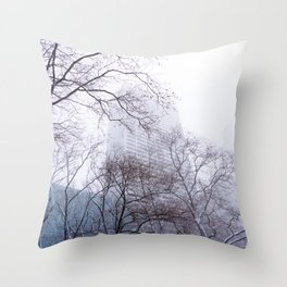 Snow in the Bryant Park Sky, NYC Throw Pillow