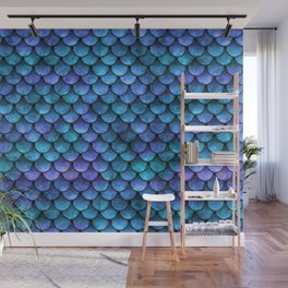 Blue Turquoise Watercolor Mermaid Scale Pattern Wall Mural