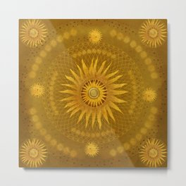 """Ocher Celestial Vault Mandala"" Metal Print"
