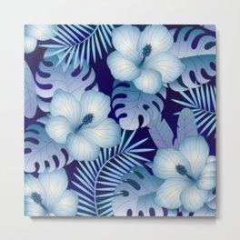 Blue Tropical Pattern Metal Print