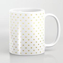 Mini gold Love Hearts on White Coffee Mug
