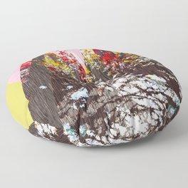 """""""Trees, Mountains, Flowers, Sun Vector Illustration"""" Floor Pillow"""
