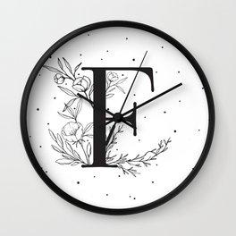 Black Letter F Monogram / Initial Botanical Illustration Wall Clock