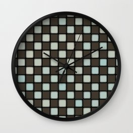 Checker Game:  Charcoal and Grey Wall Clock