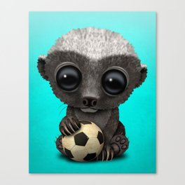 Cute Baby Honey Badger With Football Soccer Ball Canvas Print