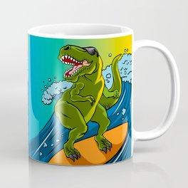 Cartoon illustration of a dinosaur surfing. Coffee Mug