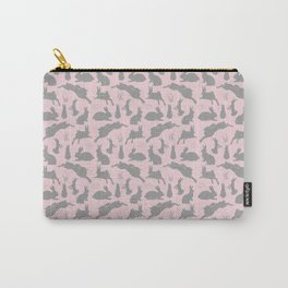 Rabbit Pattern | Rabbit Silhouettes | Bunny Rabbits | Bunnies | Hares | Pink and Grey | Carry-All Pouch