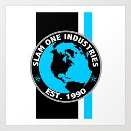 Slam 1 Industries Blue Racing Stripes Art Print