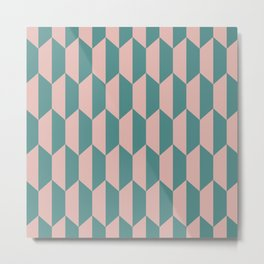 Classic Trapezoid Pattern 236 Dusty Rose and Teal Metal Print