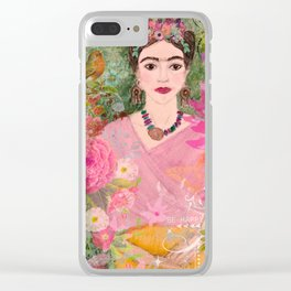 Frida Be Happy Clear iPhone Case