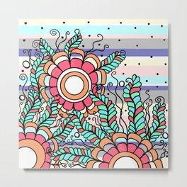 Doodle Art Three Flowers Vines with Stripes Metal Print