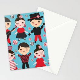 Seamless pattern spanish flamenco dancer. Kawaii cute face with pink cheeks and winking eyes. Stationery Cards