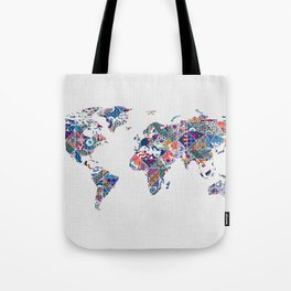 Moroccan Tile Mosaic Pattern World Map Art Tote Bag