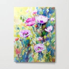Watercolor purple poppies Metal Print