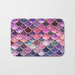 Pink & Purple Trendy Glitter Mermaid Scales Bath Mat